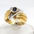 Anello fascia in Oro giallo e bianco con Zaffiro e Diamanti
